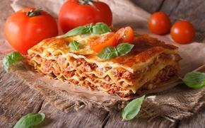 Обои блюдо, помидоры, зелень, Лазанья, Lasagna