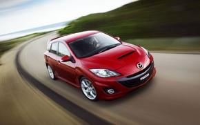 Обои красный, дорога, Мазда, Mazda