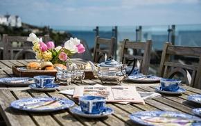 Картинка цветы, чай, завтрак, газеты, булочки, terrace, Cornwall, lunch, Penpol House, Mevagissey harbour