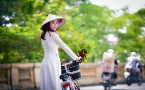 Картинка девушка, прогулка, азиатка, взгляд стиль