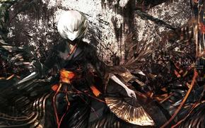Картинка штрихи, веер, пятна, гейша, кимоно, белые волосы, art, челка, Hanabi