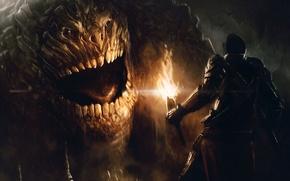 Картинка свет, лицо, человек, факел, гигант, голем