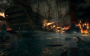 Картинка обломки, вода, огонь, война, корабль