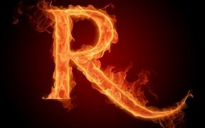 Картинка огонь, пламя, буква, литера