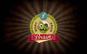 Картинка zombie, vintage, dead, retro, brain, eat, plants vs. zombies