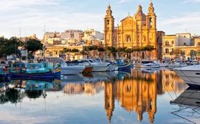 Картинка отражение, лодки, собор, катера, гавань, Malta, Мальта, Валлетта, Valletta