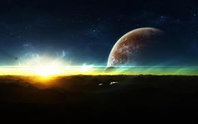 Картинка космос, пространство, фантастика, планеты, вспышка, космические корабли