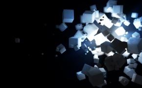 Обои свет, кубики, квадраты