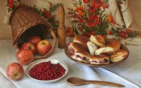 Обои корзина, натюрморт, яблоки, пирожки, клюква