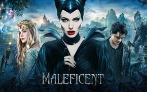 Картинка Angelina Jolie, Movie, Maleficent, Elle Fanning, Brenton Thwaites