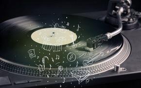 Картинка ретро, саксофон, vinyl, нарисованный, instrument, проигрыватель, инструмент, пластинка, креатив, вечеринка, микрофон, wallpaper., оркестр, музыкальный, ударная, ...