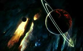 Обои сатурн, планеты, свет
