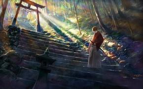 Картинка деревья, природа, оружие, катана, аниме, арт, самурай, лестница, rurouni kenshin, himura kenshin, shitub52, бродяга кэнсин