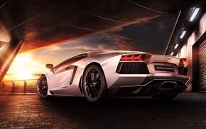 Картинка Lamborghini, Sky, Sunset, Beauty, LP700-4, Aventador, Supercar, Reflection, Rear