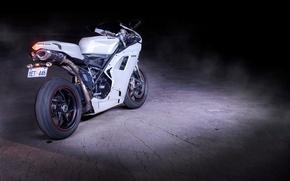 Картинка мотоцикл, white, вид сзади, bike, ducati, дукати, supersport, 1198, битон