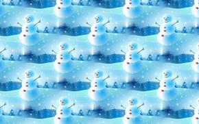 Картинка фон, настроение, праздник, текстура, Новый год, снеговик, снежинка