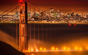 Обои огни, мост, Сан-Франциско, ночь, туман, золотые ворота, Калифорния