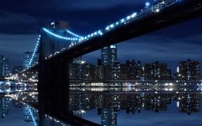Картинка вода, мост, огни, отражение, домов, ночные