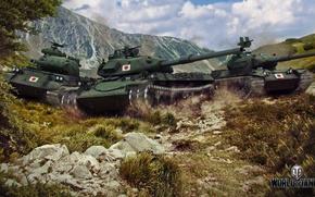 Картинка япония, танки, в горах, мир танков, Wargaming.net, WOT, Type 61, STB-1, STA-1, путь самурая, World …