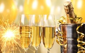 Картинка Happy, holiday, бутылка, Новый Год, серпантин, бенгальские огни, champagne, New Year, бокалы, celebration, шары, ведерко, …