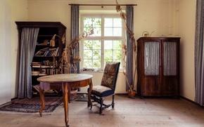 Обои комната, занавес, стол, книги, солнечный свет, кресло, окна