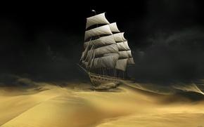 Обои корабль, пустыня, песок