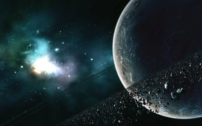 Обои пояс, планета, звезды, астероиды