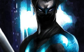 Картинка взгляд, оружие, маска, арт, костюм, Nightwing