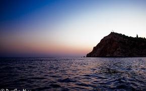 Картинка море, закат, горы, отдых, побережье, Крым, Балаклава.