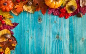 Картинка осень, листья, доски, жолуди