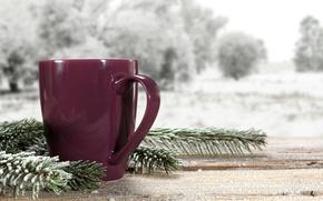 Картинка зима, снег, пейзаж, природа, кофе, чашки