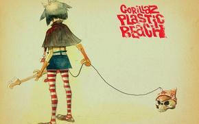 Картинка череп, art, gorillaz, noodle, Plastic Beach