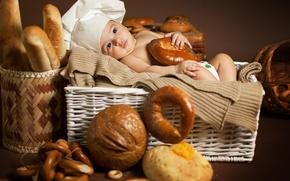 Картинка дети, малыш, хлеб, бублики, булки, ребёнок, колпак, баранки, корзины, батоны, Анна Леванкова, поварёнок