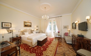 Картинка дизайн, стиль, стол, комната, интерьер, телевизор, картины, шторы, особняк, роскошь, спальня, bedroom