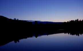 Картинка лес, закат, озеро, рассвет, forest, sunset, lake, sunrise