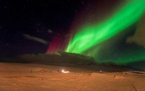 Картинка звезды, снег, ночь, северное сияние, Aurora Borealis