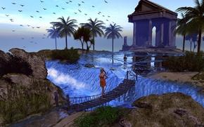 Картинка небо, трава, вода, девушка, птицы, мост, пальмы, водопад, храм
