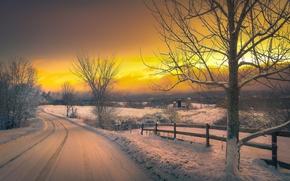Картинка Деревня, дорога, снег, зима, вечер, закат