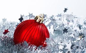 Картинка красный, новый год, шар, мишура