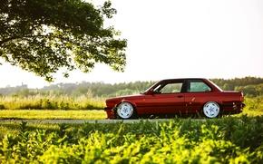 Картинка car, BMW, red, tuning, E30, 3 series, трешка