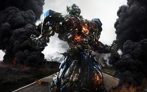 Картинка car, cinema, fire, flame, gun, robot, weapon, street, movie, Transformers, Optimus Prime, Michael Bay, film, …