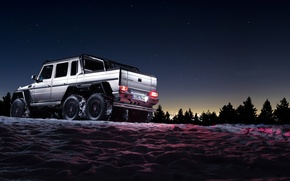 Обои mercedes-benz, g63, 6x6, amg, shadow, snow, sun, awesome, background