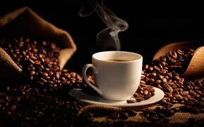 Картинка кофе, зерна, чашка, мешок, кофейные зерна, coffee, Cup, bag, лопатка, shoulder, grain, coffee beans