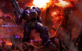 Картинка взрыв, броня, Terran, Starcraft, выстрелы, зерги, пехота оружие