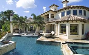 Картинка город, пальмы, вилла, бассейн, архитектура