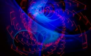 Обои спираль, свет, цвет, линии, огни, объем