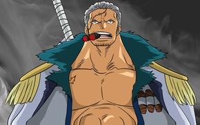 Картинка sword, ice, game, One Piece, Marine, anime, short hair, snow, man, face, asian, cigar, manga, …