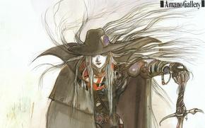 Картинка шляпа, графика, плащ, Vampire Hunter D, art, цветная, охотник, меч, Yoshitaka Amano