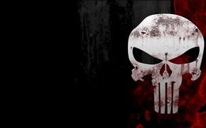 Обои skull, кровь, фон, череп, the punisher, каратель