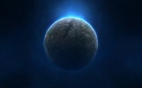 Картинка звезды, синий, туман, планета